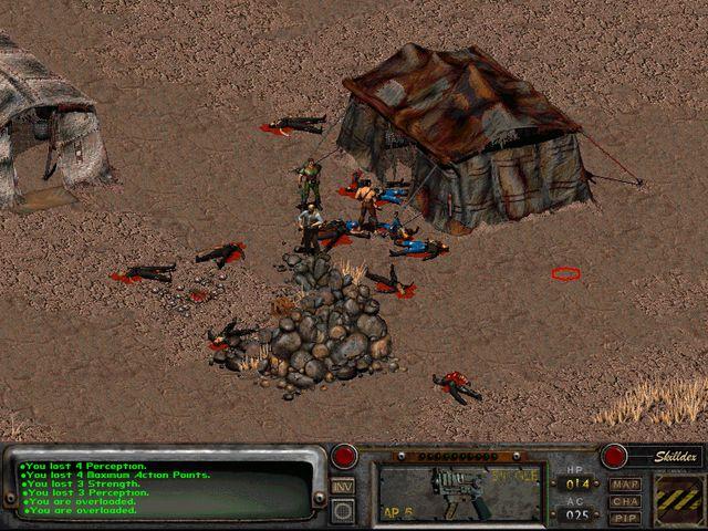Fallout 2 после встречи с бандитами    Осталось только обобрать всех и распределить груз.
